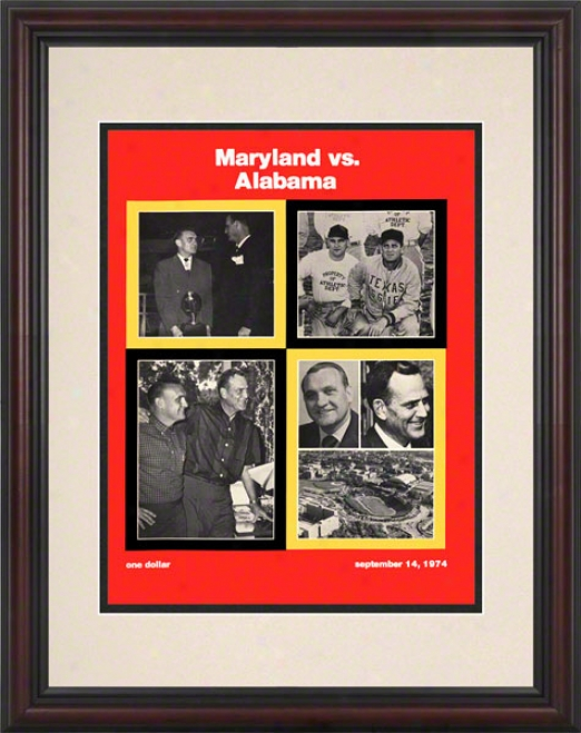 1974 Mryland Vs. Alabama 8.5 X 11 Framed Historic Football Print