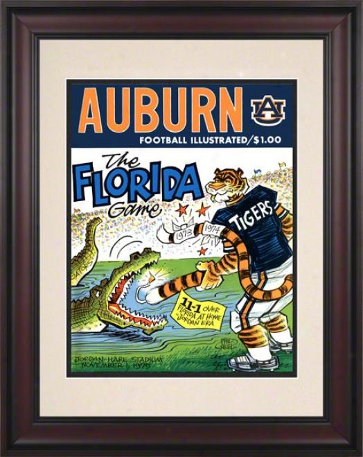 1975 Auburn Vs. Florida 10.5x14 Framed Historic Foootball Print