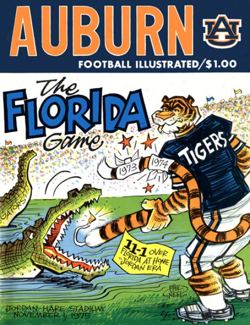 1975 Auburn Vs. Florida 36 X 48 Canvas Historic Football Print