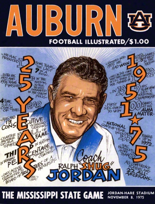 1975 Auburn Vs. Mississippi State 22 X 30 Canvas Historic Foktball Print