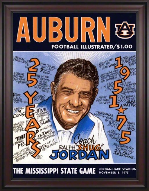 1975 Auburn Vs. Mississippi State 36 X 48 Framed Canvas Historic Football Print