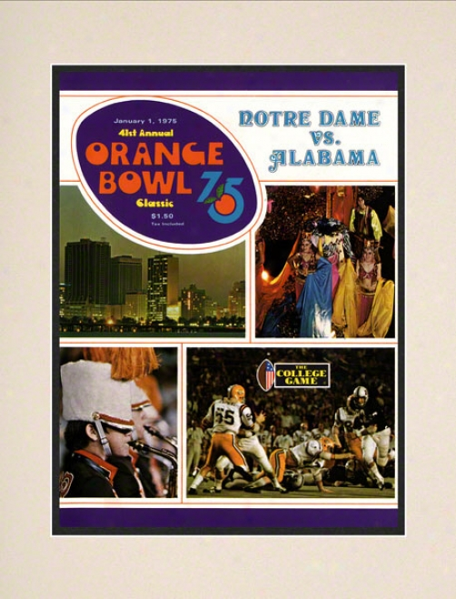 1975 Notre Dame Fighting Irish Vs Alabama Crimson Tide 10 1/2 X 14 Matted Historic Football Poster