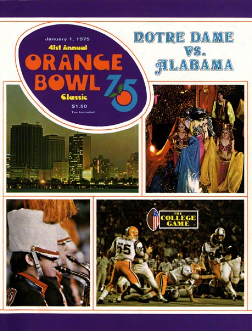 1975 Notre Dame Fighting Irish Vs Alabama Crimson Tide 22 X 30 Canvas Historic Football Poster