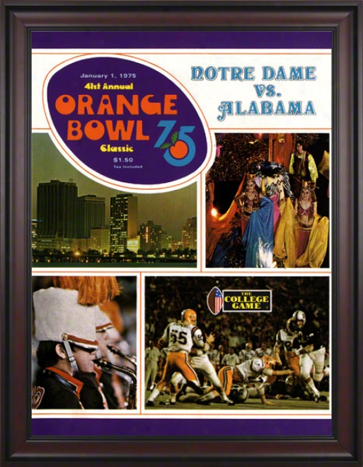1975 Notre Dame Fighting Irish Vs Alabama Crimson Tide 36 X 48 Framed Canvas Historic Football Poster