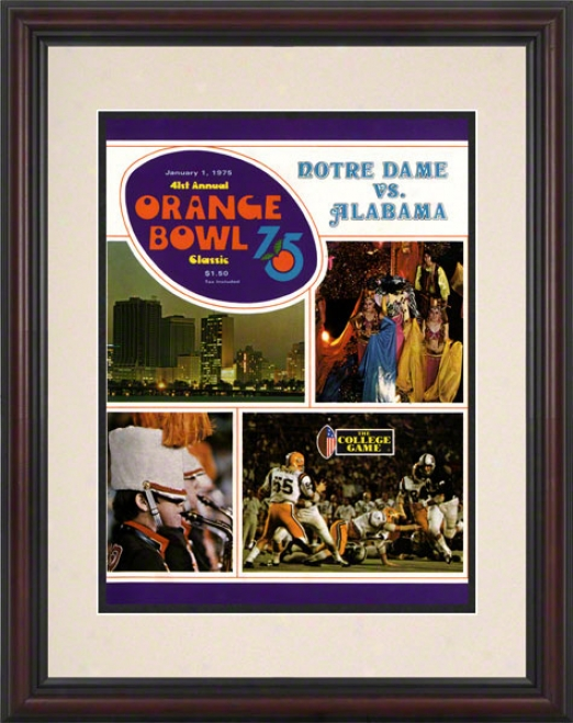1975 Notre Mistress Fighting Irish Vs Alabama Crimson Current 8.5 X 11 Framed Historic Football Psoter