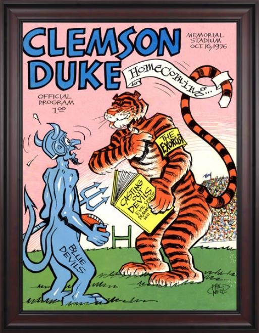 1976 Clemson Tigers Vs. Duke Blue Devils 36 X 48 Framed Canvas Historic Football Print