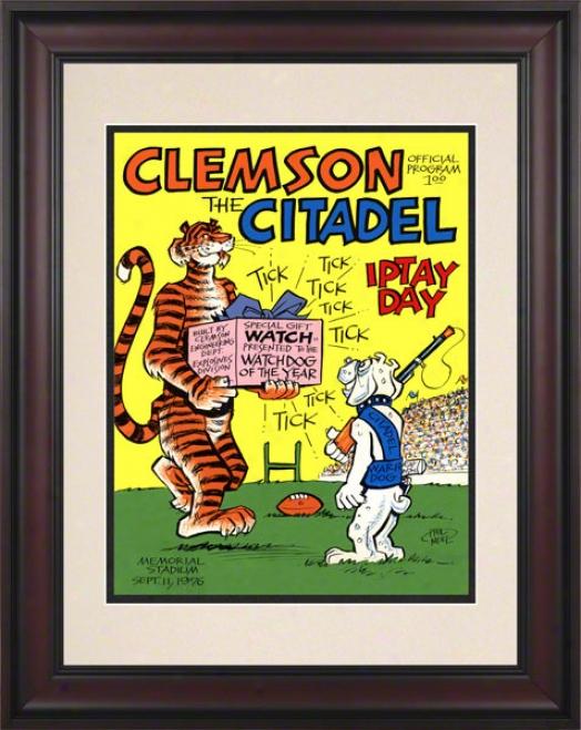1976 Clemson Vs. Cjtadel 10.5x14 Framed Historic Football Print