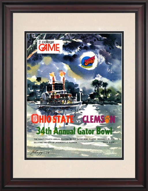 1978 Clemson Tigers Vs. Ohio State Buckeyes 10.5x14 Framed Historic Football Print