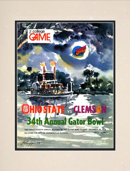 1978 Clemson Tigets Vs. Ohio State Buckeyes 10.5x14 Matted Historiic Footbaol Print