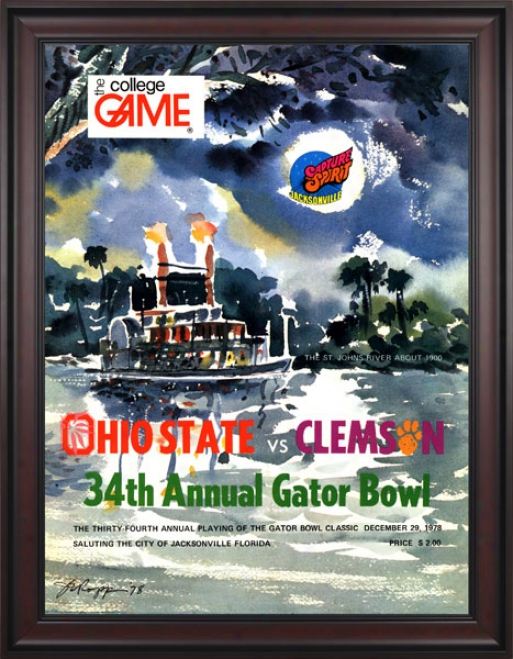 1978 Clemson Tigers Vs. Ohio State Buckeyes 36 X 48 Framed Canvas Historic Football Print