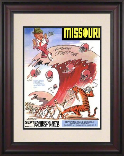1978 Missouri Vs. Alabama 10.5x14 Framed Historic Football Print