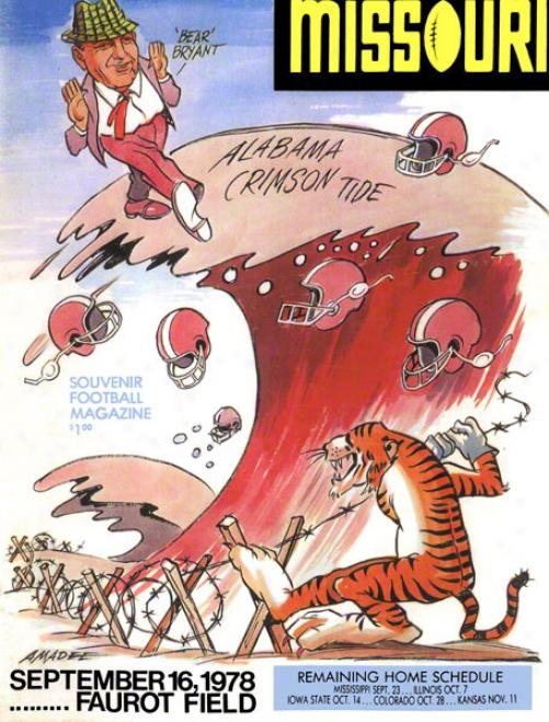 1978 Missouri Vs. Alabama 36 X 48 Canvas Historic Football Print