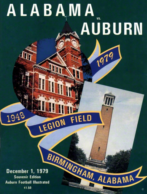 1979 Auburn Vs. Alabama 22 X 30 Canvas Historic Football Print