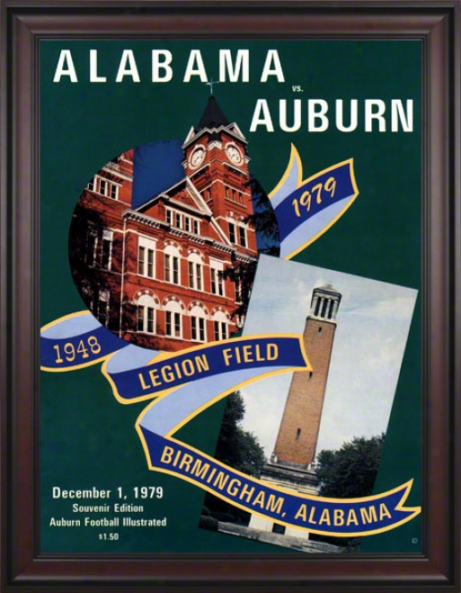 1979 Auburn Vs. Alabama 36 X 48 Framed Canvas Historic Football Print