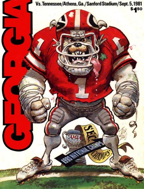 1981 Georgia Vs. Tennessee 36 X 48 Canvas Historic Football Print