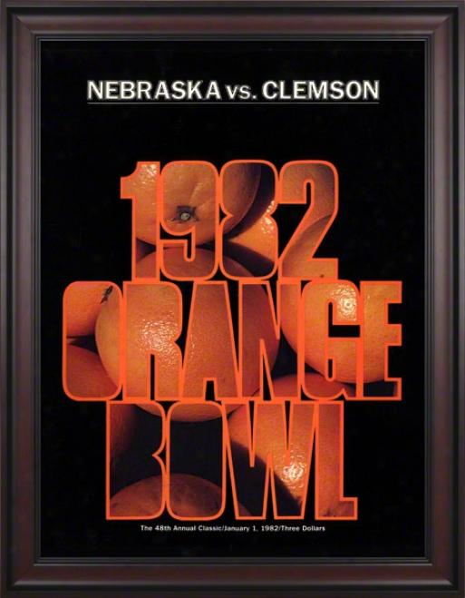 1982 Clemson Vs Nebraska 36 X 48 Framed Canvas Historic Football Poster