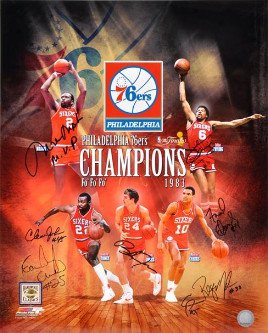 1983 Philqdelphia 76ers Team Autographed 16x20 Photograph  Detailw: 8 Signatures