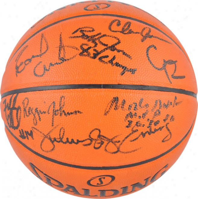 1983 Philadelphia 76ers Team Autographed Basketball  Detaiis: Indoorr/ Outdoor Ball, With 8 Signatures