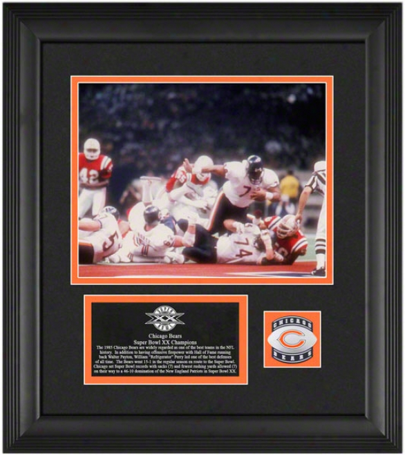 1985 Chicago Bears - Sb Xxchamps - Framed 8x10 Photograph With Football & Medallion