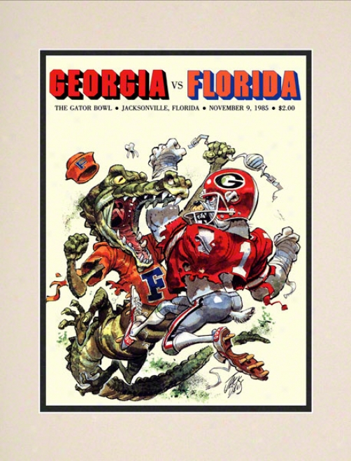 1985 Florida Vs. Georgia Gator Bowl 10.5x14 Matted Historic Football Print