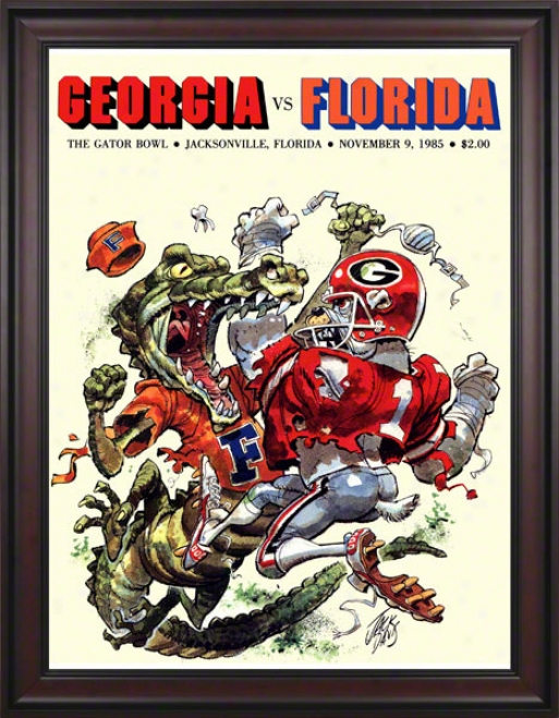 1985 Florida Vs. Georgia Gator Bowl 36 X 48 Framed Canvas Historic Football Print