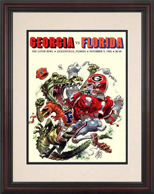 1985 Florida Vs. Georgia Gator Bowll 8.5 X 11 Framed Historic Football Print