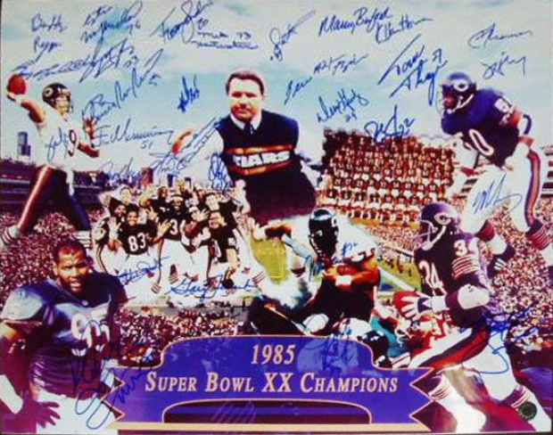 1985 Super Bowl Xx Champion Chicago Chicago Bears Team Signed 16x20 Collage Photograph