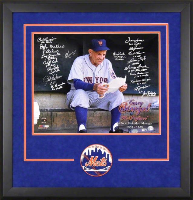 1986 New York Mets Team Signed Framed Autographed Photo W/ 26 Signatures