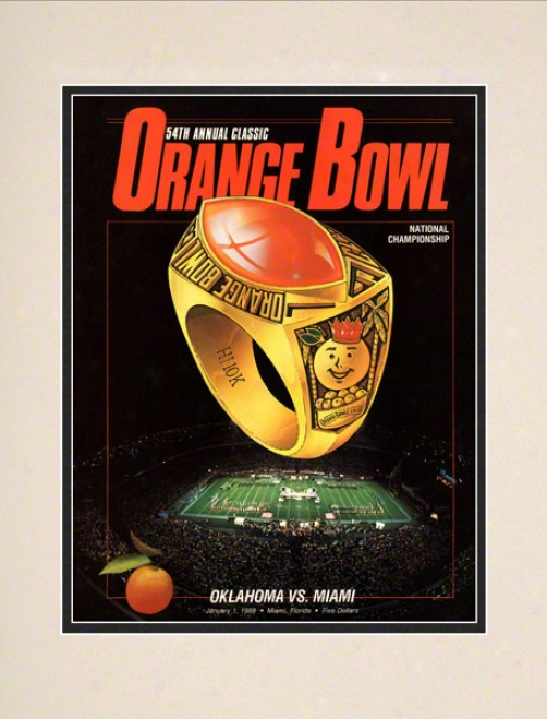 1988 Miami Vs Oklahoma 10.5x14 Mattec Historic Football Print