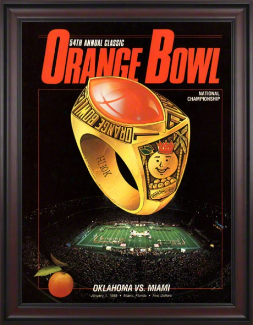 1988 Mizmi Vs Oklahoma 36 X 48 Framed Canas Historic Football Print