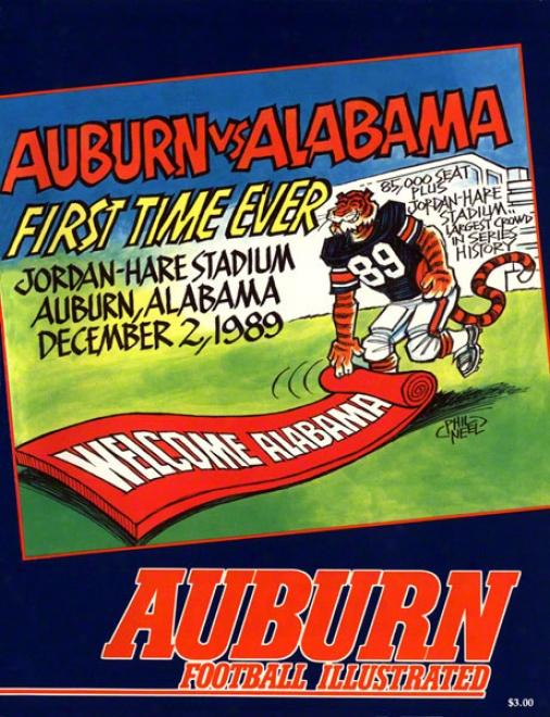 1989 Auburn Vs. Alabama 22 X 30 Canvas Historic Football Print