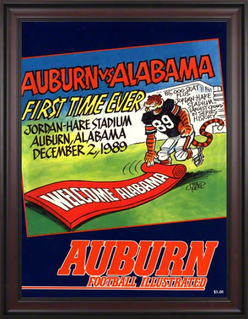 1989 Auburn Vs. Alabama 36 X 48 Framed Canvas Historic Football Print