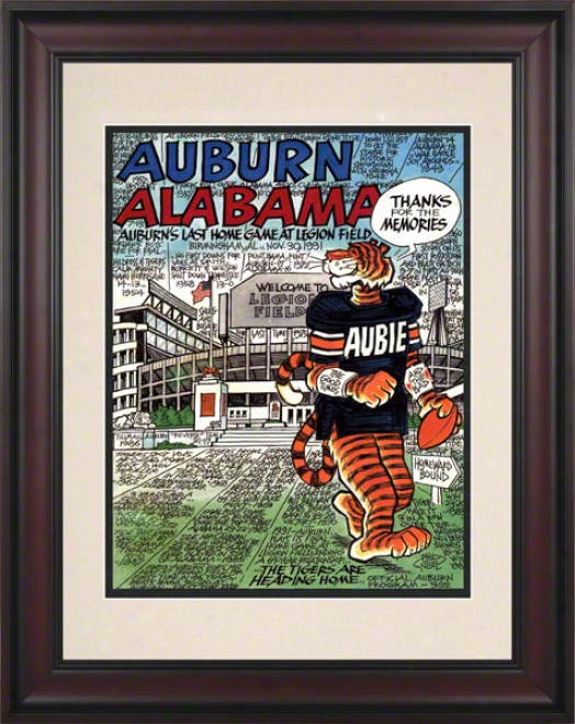 1991 Auburn Vs. Alabaka 10.5x14 Framed Hisotric Football Print