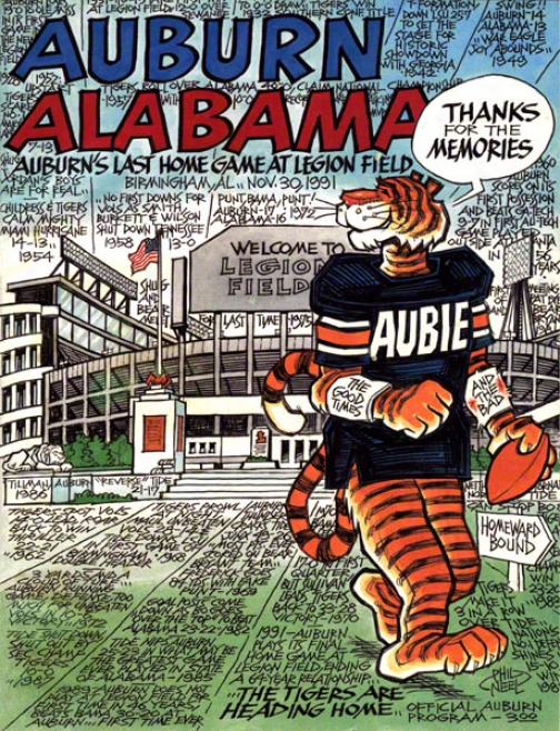 1991 Au6urn Vs. Alabama 36 X 48 Canvas Historic Football Print