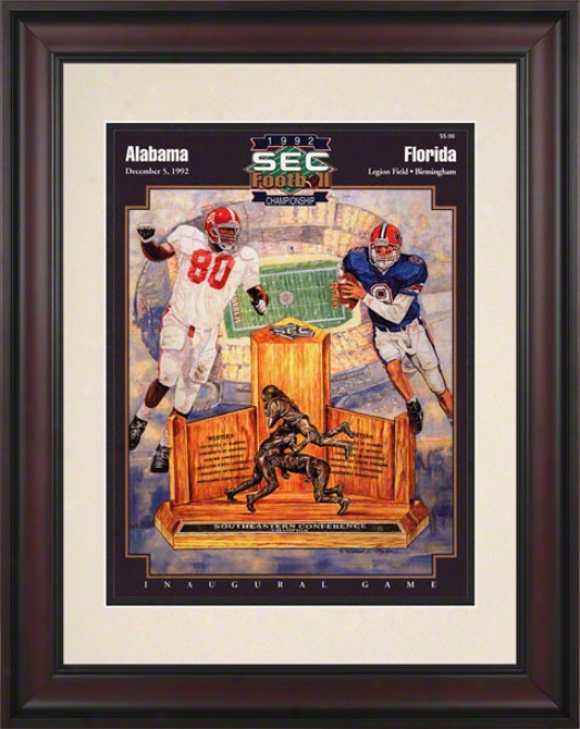 1992 Alabama Vs. Florida Sec Championship 10.5x14 Framed Historic Football Print