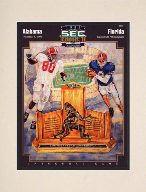 1992 Alabama Vs. Florida Sec Championship 10.5x14 Matted Historic Football Print