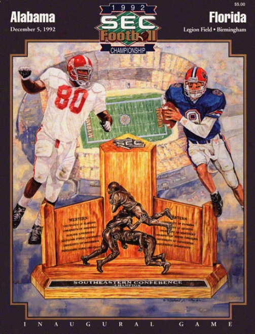 1992 Alabama Vs. Florida Sec Championship 22 X 30 Canvas Historic Football Print