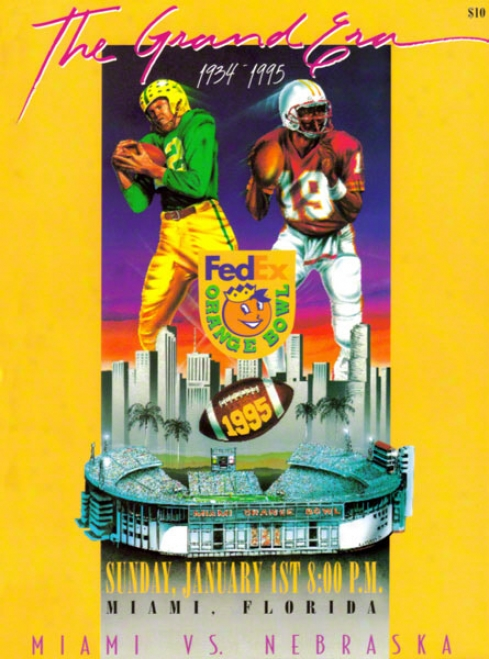 1998 Nebraska Vs. Miami 36 X 48 Canvas Historic Football Print