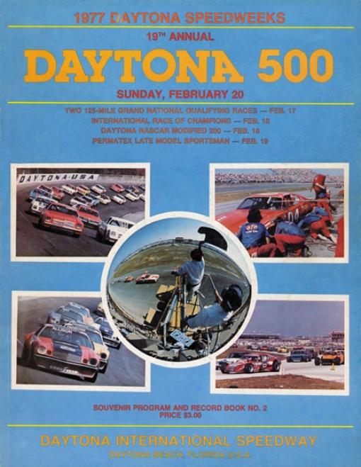 19th Annual 1977 Daytona 500 Canvas 36 X 48 Program Print