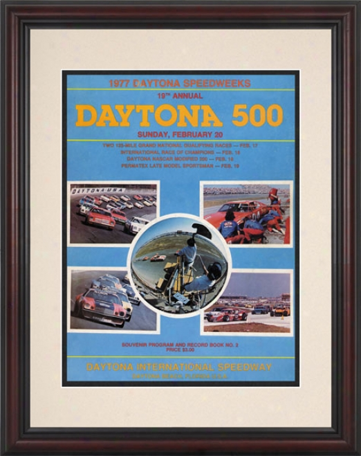 19th Annual 1977 Daytona 500 Framed 8.5  X 11 Program Print