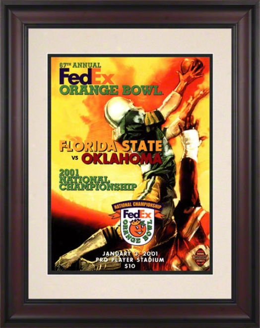 2001 Oklahoma Vs Florida State 10.5x14 Framed Historic Football Print