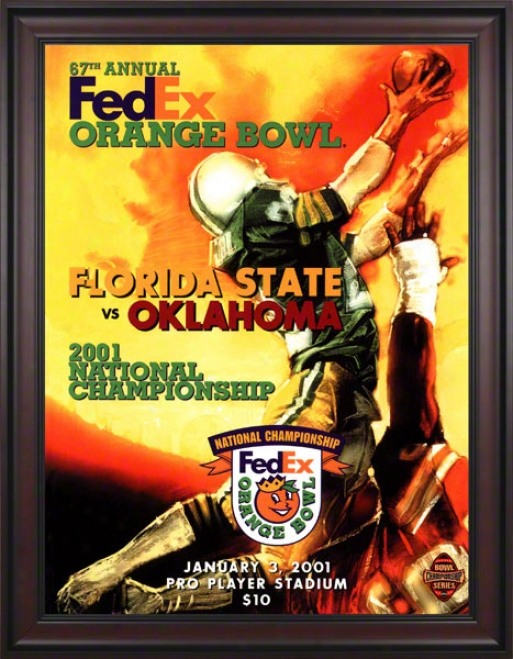 2001 Oklahoma Vs Florida State 36 X 48 Framed Canvas Historic Football Print