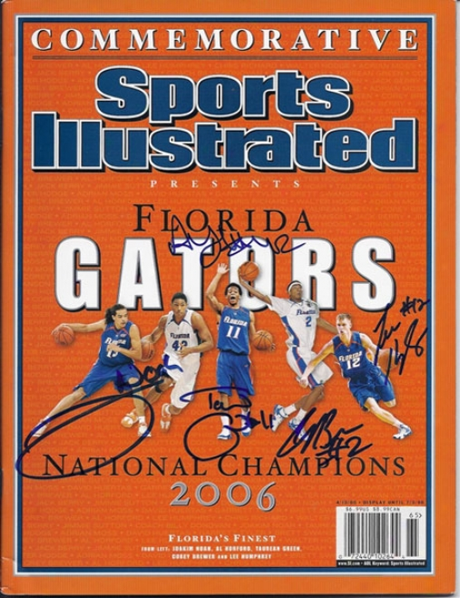2006/2007 Florida Gators Autographed Commemorative Sports Illustrated Custom Framed (signed By Noah, Brewer, Humphre,y Green, Horford)