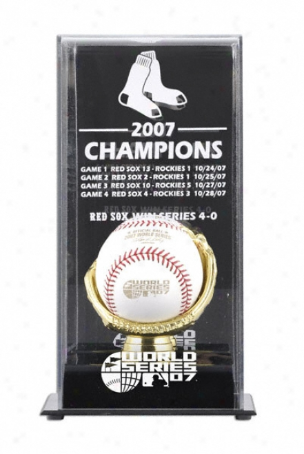 2007 Boston Red Sox World Series Champs Display Case With World Series Baseball