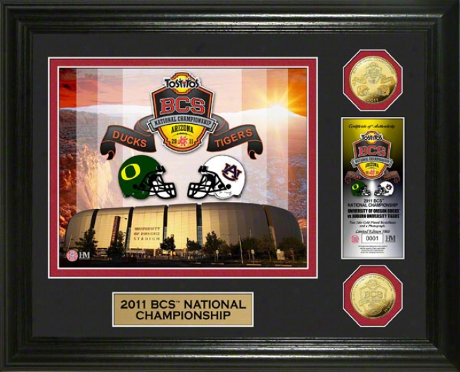 2011 Bcs Championship Game Commemorative 24kt Gold Coin Photo Mint
