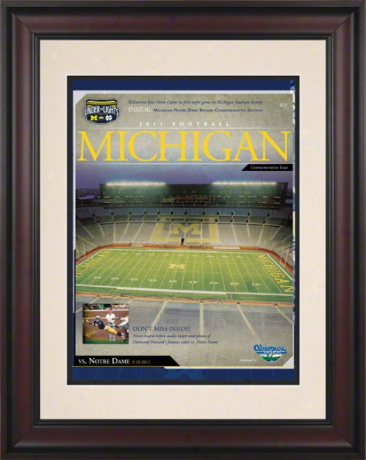 2011 Notre Dame Vs. Michigan 10.5x14 Framed Historic Football Poster  Details: 1st Night Game