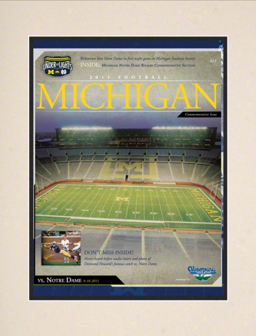 2011 No5re Dame Vs. Michigan 10.5x14 Matted Historic Football Poster  Details: 1st Night Game