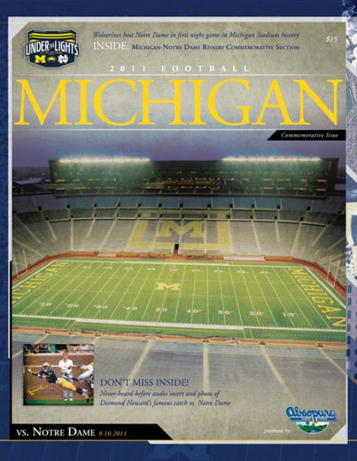 2011 Notre Dame Vs. Michigan 22x30 Canvas Historic Football Poster  Details: 1st Night Game
