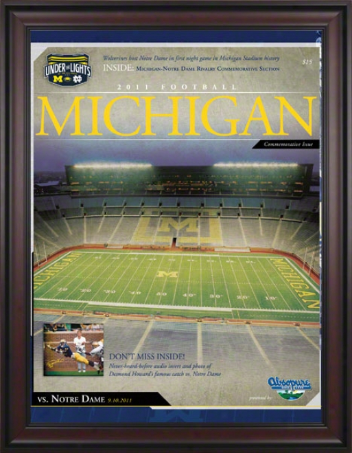2011 Notre Dame Vs. Michigan 36x48 Framed Canvas Historic Football Poster  Details: 1st Night Game