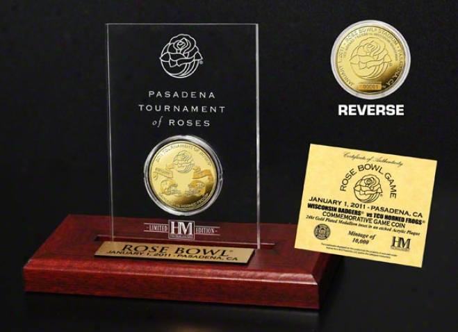 2011 Rose Bowl Cmmemorative 24kt Gold Coin Etched Acrylic
